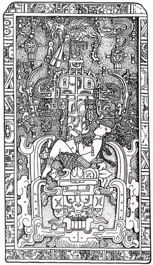 Tomb Lid Engraving of Pacal Votan, Palenque, MX
